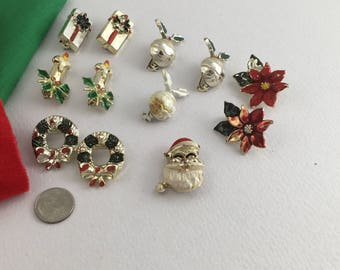 1960s Vintage Christmas Brooches, Gold Tone, Colorful X-mas Holiday Pins - for sale by piece