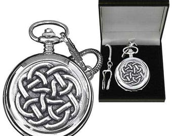 Pewter Celtic Links Pattern Pocket Watch - Engraved with your message