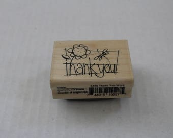 Thank You Rubber Wood Mounted Stamp by Stampendous