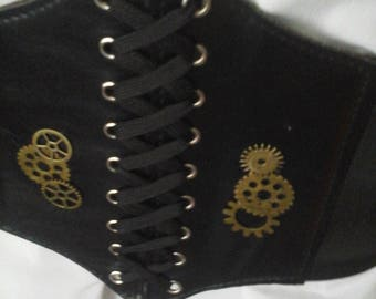 """Steampunk 7.5""""  Wide Corset with Thick Velcro Closure at back, Lace Up Front"""