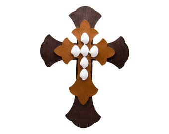 """Large Wall Cross 17"""" Tall Dark Brown White Layered Unique Antique Distressed Rustic Décor Wall Hanging Wall Sculpture For Decorating"""