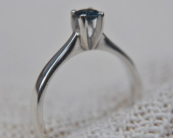 Sapphire Sterling Silver Ring Hallmarked