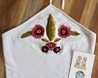 Hand Embroidered Crop Top/ Floral Crop top