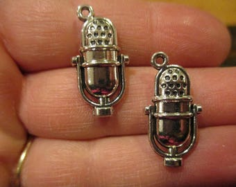 Set of 2 Vintage Microphone Charms