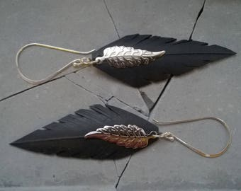 Earrings 925 sterling silver hooks and feather in inner tube