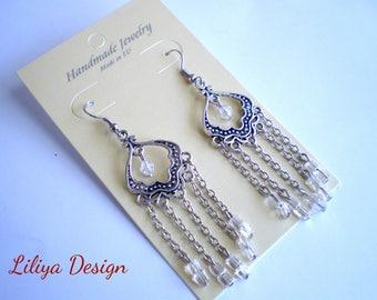 Silver chain earrings Dangle Earrings Pendant Earrings Chandelier earrings Wedding jewelry Wedding earrings Dangling medallion earrings