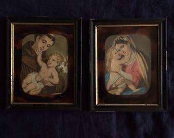 Pair of religious ephemera in their frames NAPOLEON III
