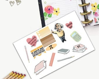 Pi Day Theme One Day Small Planner Sticker Set, All Happy Planner Stickers, Stickers, Printed, Cut, Functional Sticker, Any Planner, Holiday