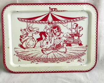 Vintage Childs Lap Tray with Merry Go Round Design