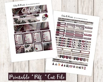 Wicked Affair October Printable Planner Stickers/Monthly Kit/For Use with Erin Condren/Cutfiles Fall October Glam Glitter Skull