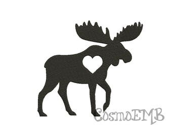 7 Size Moose Silhouette Embroidery  Applique design Machine Embroidery - Digital INSTANT DOWNLOAD