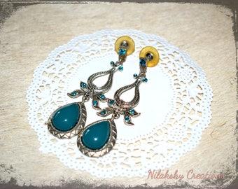 Vintage Earrings,Bollywood Earrings,Princess Earrings,Retro,Green Earrings,Party earrings,Evening Earrings,Wedding Earrings,Abend Ohrringe