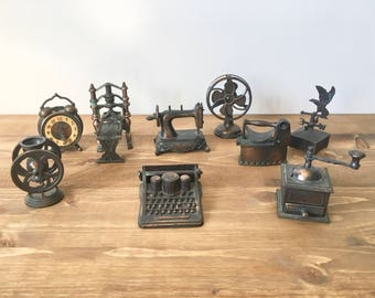 Vintage Durham Industries Miniatures Set of 9 / Die Cast Metal / Made in Hong Kong /  1970's / Doll House Miniatures / Collectibles