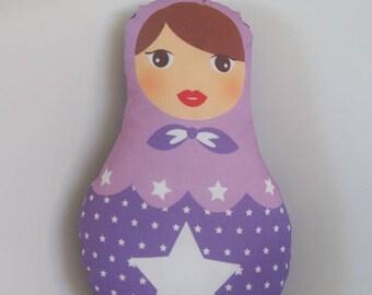Small purple matryoshka cushion