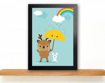 A4 Deer Poster Children's Room picture Kids poster