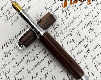 Asian Indian Rosewood Easebourne Fountain pen in Chrome (983)
