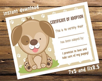 Puppy Dog Adoption Certificate Birthday Party Printable with its back  - INSTANT DOWNLOAD