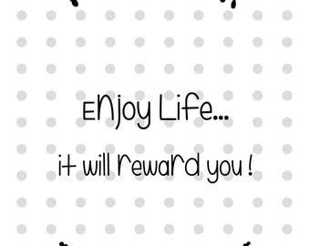 """Card """"Enjoy Life"""" gray dot"""
