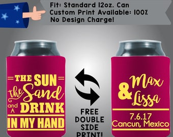 The Sun The Sand And A Drink In My Hand Collapsible Fabric Wedding Can Coolers, Cheap Can Coolers Wedding Favors (Etsy-W221)