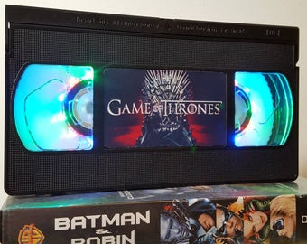 Retro VHS Lamp Game of Thrones  Night Light Table Lamp. Order any film, movie, series, or actor! Great gift. Man Cave, Office, Bedroom!