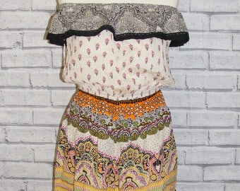 Size 14 vintage 70s style boho bardot off shoulder playsuit cream paisley BNWT
