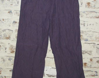 Size 10 vintage 90s gather low waist wide leg trousers purple silk blend (GX99)