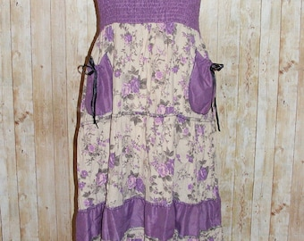 Size 8-10 vintage 70s style tiered maxi hippy skirt/dress purple floral (HJ42)
