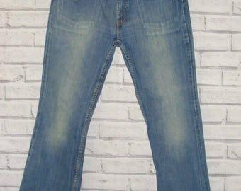Size 32S W30 L30 vintage 90s Levi's 529 bootcut jeans low rise faded blue (IA57)