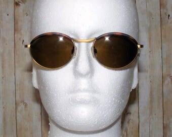 Vintage sunglasses, 90s sunglasses, deadstock sunglasses, Vintage 90s deadstock oval/round sunglasses matt tortoiseshell/gold metal (SG35)