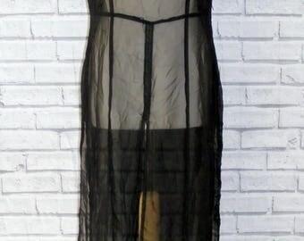 Size 14 vintage 90s short sleeve maxi over dress with splits sheer black (IB64)