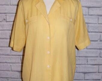 Size 14 vintage 80s short sleeve loose blouse yellow semi sheer stripe (IC32)