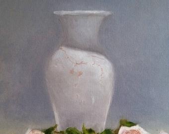 Rose and white vase