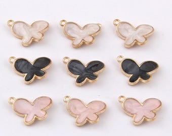 Butterfly Charms, 10PCS, 10*15mm, Enamel Charms, Bracelet Charms ,Jewelry Supplies, Black, White, Pink