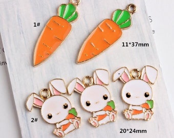 Rabbit Charms, 10PCS, Enamel Charm, Radish Charm, Carrot Charm, Rabbit and Carrot, Jewelry Findings, Craft Supplies