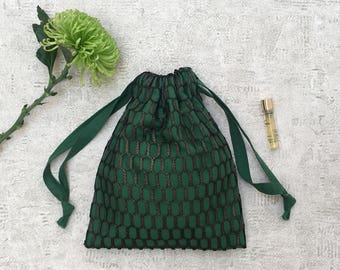smallbag bronze lace lined Voile of cotton green Christmas tree - cotton bag