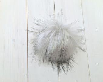 Grey Wolf- Faux Fur Pompom, grey faux fur, Plush Fur Pom Pom,fur pom pom, cruelty free pom pom, fur pom poms, hat pompom,White fur pompom