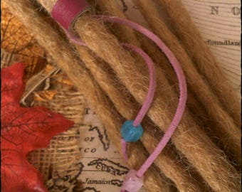 L/XL - Unique hand crafted, up-cycled genuine leather dread/hair cuff/bead with beaded tails.