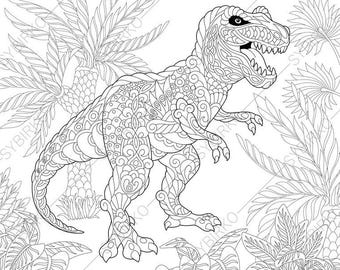 Adult Coloring Pages Dinosaur Tyrannosaurus Zentangle Doodle For Adults Digital Illustration