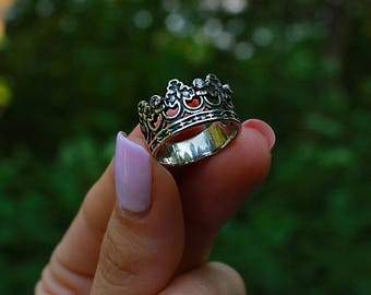 Crown Ring Silver Handmade Jewelry Weight 4 g