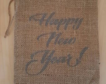 Burlap Bag, Happy New Year! Burlap Holiday Bags, Burlap Gift Bags, Gift Bags, Goodie Bags, Party Bags, New Year's Party Decor