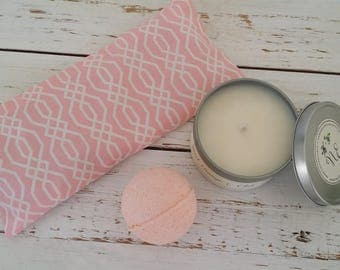 Gift sets under 30 - Migraine Relief Peppermint Lavender Eye Pillow - 8oz Soy Candle - Lavender Blended Bath Bomb - Aromatherapy