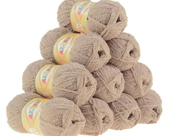 10 x 50 g soft yarn fluffy wool SOFTY by ALIZE No. 617 Brown