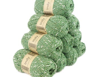 10 x 50 g recycling - INDY yarn, color 083 green white