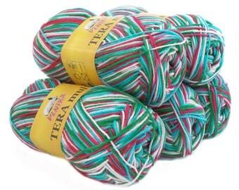 5 x 100 g yarn TERA MULTI, #807 green pink white