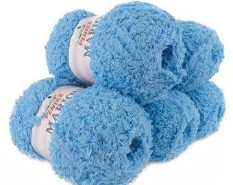 5 x 100 g soft Knitting yarn MARION with shimmering highlights, #110 light blue