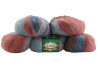 5 x 50g knitted yarn Alize Kid Royal MISSISIPI, # 4008