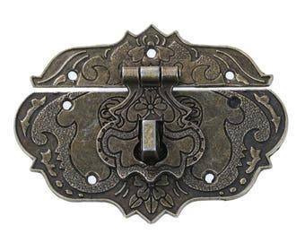 10 x chest closure chest lock box lock 7.7 x 4, 8 cm antique bronze