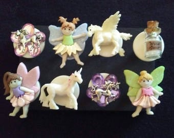 Unicorns and Fairies Push Pins