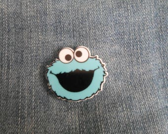 Handmade Sesame Street Cookie Monster Blue Character Pin Badge