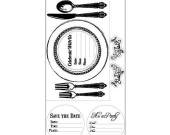 Fall Clearance: Sizzix Interchangeable Clear Stamps - Placemat Invite  660565